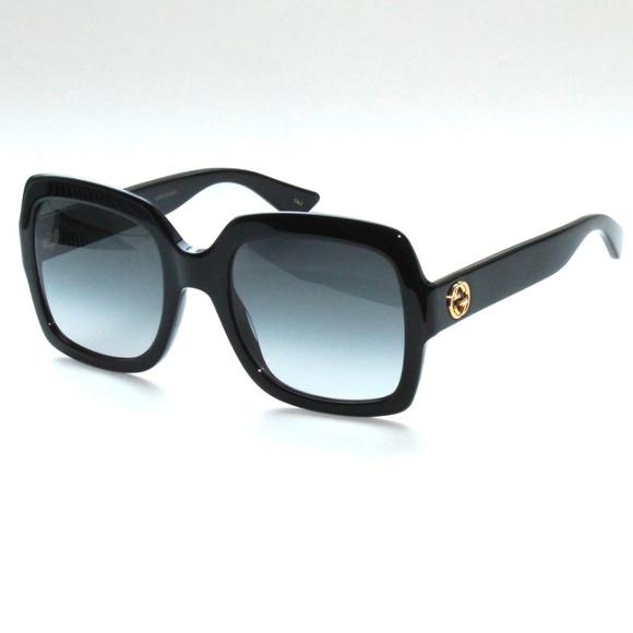 ebde50b1d0 GUCCI GG0036S 001 Black Grey Lens Square Sunglasse